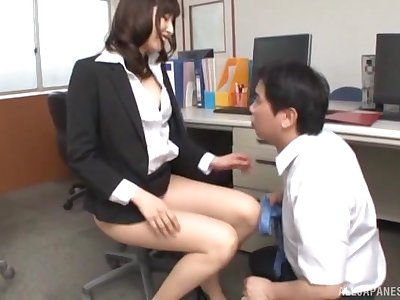 Passionate fucking in the office with a morose Japanese secretary