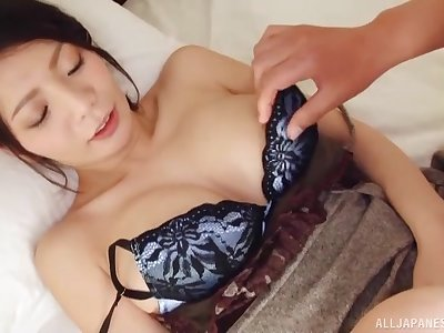 Busty Asian darling gets fucked between Bristols and gives head