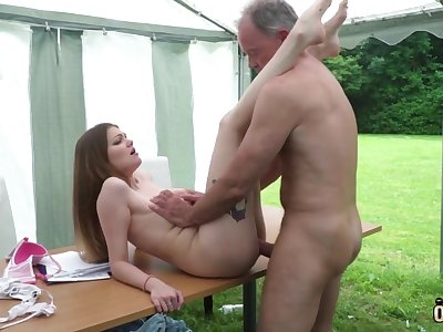 Youthfull nubile entices and tears up elderly fellow erratically facial cumshot pop-shot