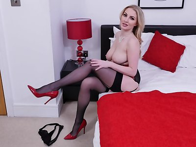 Nice pussy fingering wits busty blonde pornstar Georgie Lyall