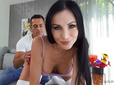 Cum loving girlfriend Sasha Rose gets fucked all round juicy asshole