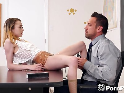 Torrid and rapacious scrivener Allie Addison is fucked yes hard on a catch table