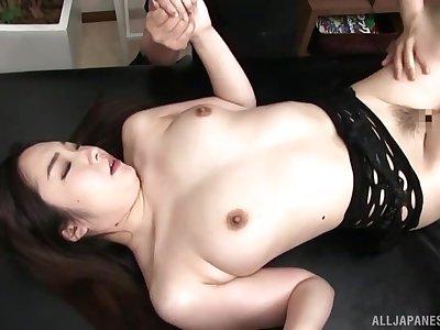 Snug boobs Asian slut Fuji Niina enjoys getting her arse poked