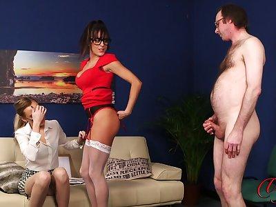 Sexy babes Klara Belle and Kourtney Selective tease a naked guy