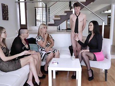 Lucky dude is treated with nice oral petting by bursting sexpots