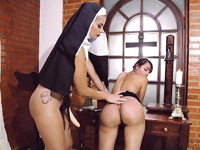 Anomalous nun uses a strapon regarding fuck wet pussy of a sinner unsubtle