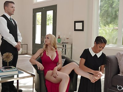 Passionate MILF delights with her servants for naughty trinity