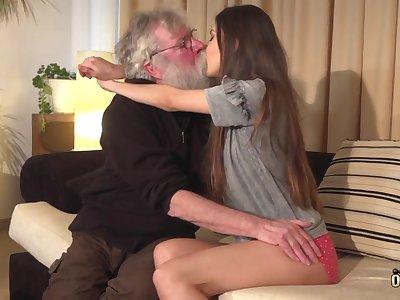 Pensioner on every side long grey beard fucks comely Turkish babe Anya Krey