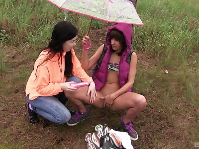 Lesbians love to make out in nature and have fun