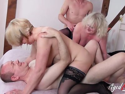 Grannies in a hardcore foursome love hard dick