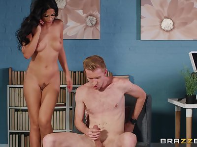 Julia De Lucia wears sexy red dress for fucking her handsome friend