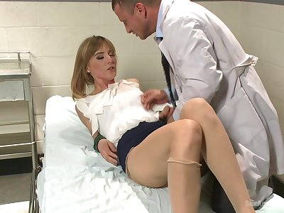 Milf with small tits, hard sex with be transferred to horny sawbones with a big dick