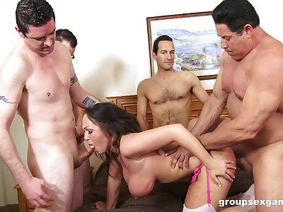 Erotic group sex for the busty inferior wife