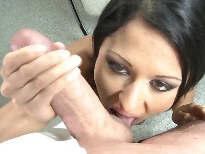 Busty casting babe gives POV blowjob then fucks like a star
