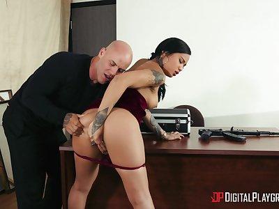 Asian beauty bends over hammer away desk to fuck helter-skelter her kingpin