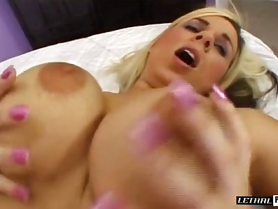 Big breasted pale nympho is ready to take stiff BBC into her twat