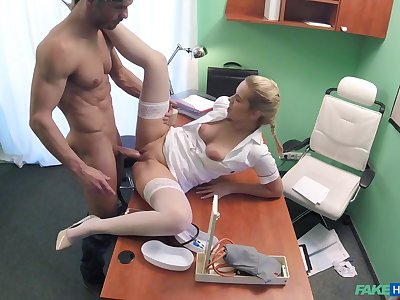 Hot flaxen-haired nurse takes care of a handsome, well-endowed patient