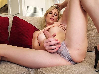 Alone buxom blonde shemale Nikki Vicious just loves wanking in the flesh